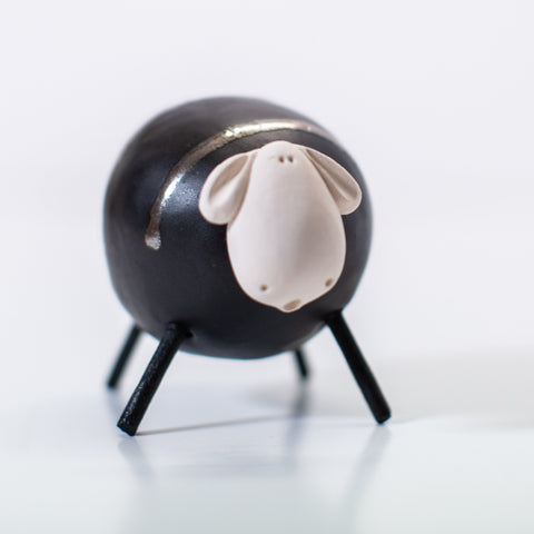 Ceramic Black Sheep - Small/Round
