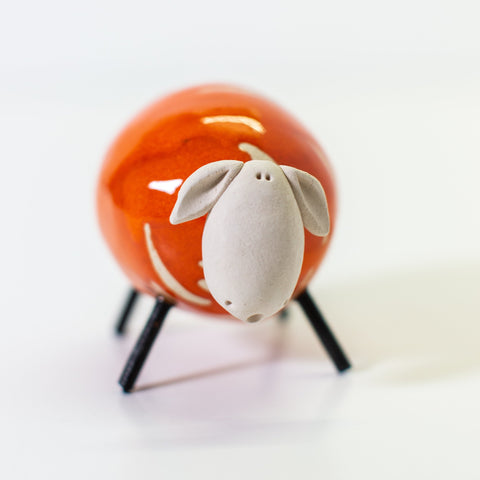 Ceramic Orange Sheep - Small/Round