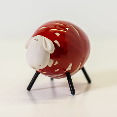 Ceramic Red Sheep - Small/Round