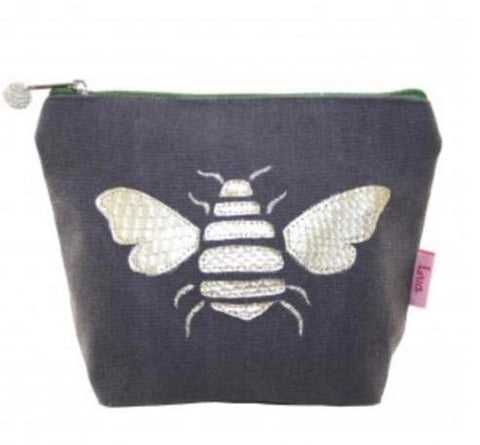 Cosmetic Purse - Charcoal with Bee