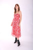 Darcy Floral Chiffon Dress in Red - Traffic People