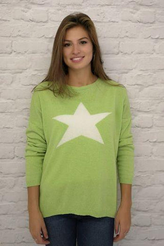 Cashmere Jumper - Classic - Lime with Star