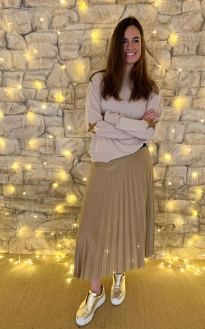 Lurex Pleated Skirt in Gold - Luella Collection