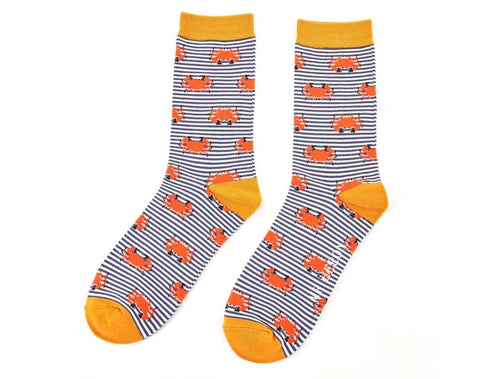 Mens Socks - Bamboo - Navy Crab