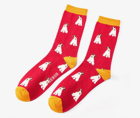 Mens Socks - Bamboo - Red Fox Terrier