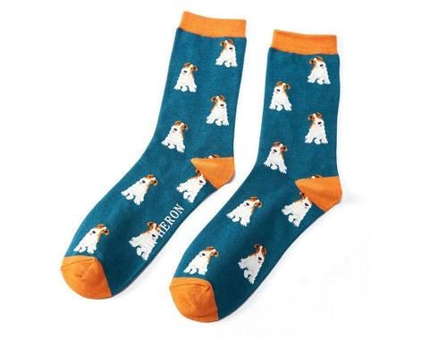 Mens Socks - Bamboo - Teal Fox Terrier