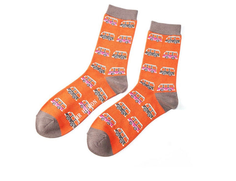 Mens Socks - Bamboo - Orange Campervan