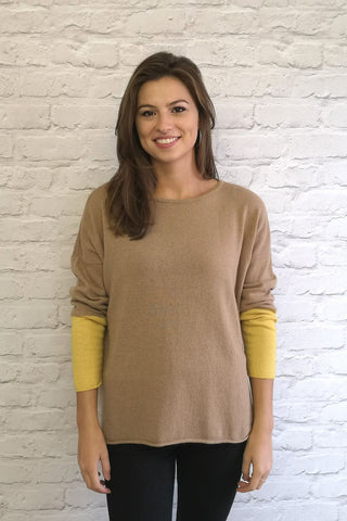 Cashmere Jumper - Gina - Mustard & Brown