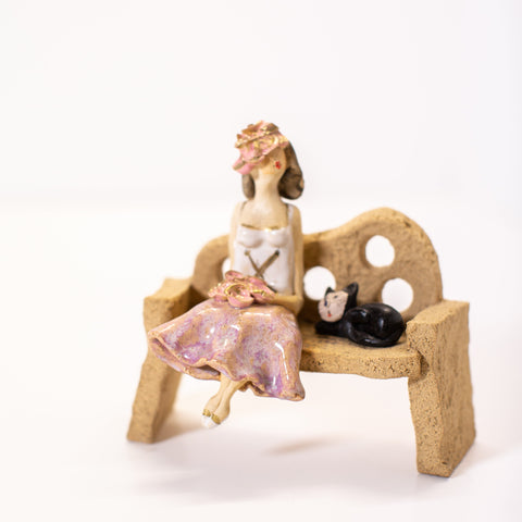 Ceramic Figure - Lady and Cat on a Bench - Love Roobarb