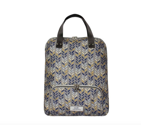 Bag - Oil Cloth Backpack Blue Herringbone