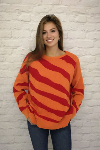 Cashmere Jumper - Savannah - Orange with Stripes