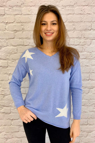 Cashmere Jumper -Tippi - Pale Blue with Star