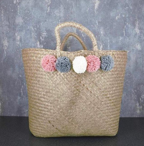 Tote Bag with Pom Poms