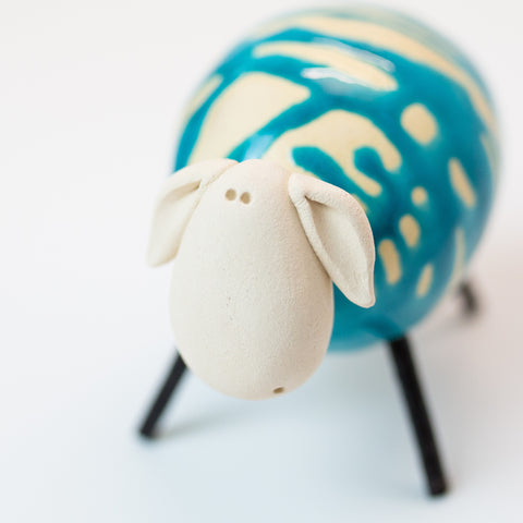 Ceramic Blue Sheep - Small/Round