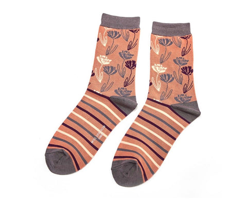 Socks - Bamboo - Climbing Floral Orange - Love Roobarb