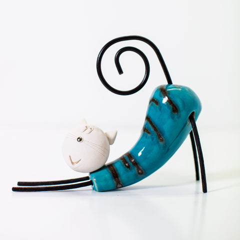 Ceramic Pounching Cat - Blue