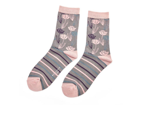 Socks - Bamboo - Climbing Floral Grey - Love Roobarb