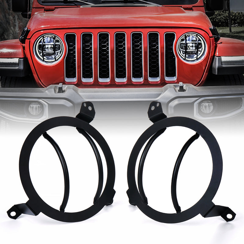 Xprite Black Steel Headlight Guards For 2018+ Jeep Wrangler JL & Gladiator JT