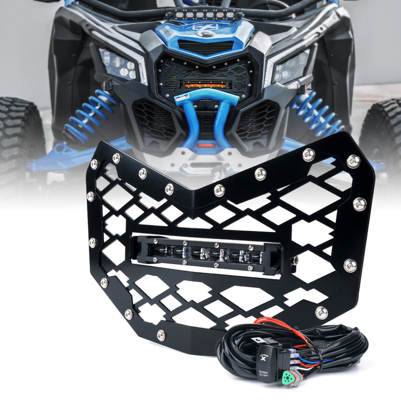 "Xprite Black Steel Mesh Grille with 8"" LED Lightbar for 2017-18 Can-Am Maverick X3"