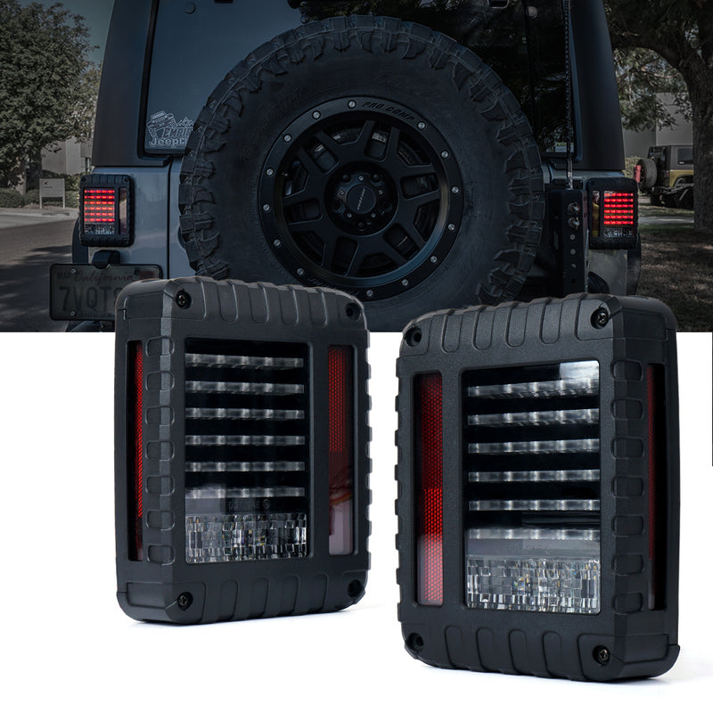 Xprite Defender Series LED Tail Light Assembly with Clear Lens For Jeep Wrangler JK JKU 2007 - 2018