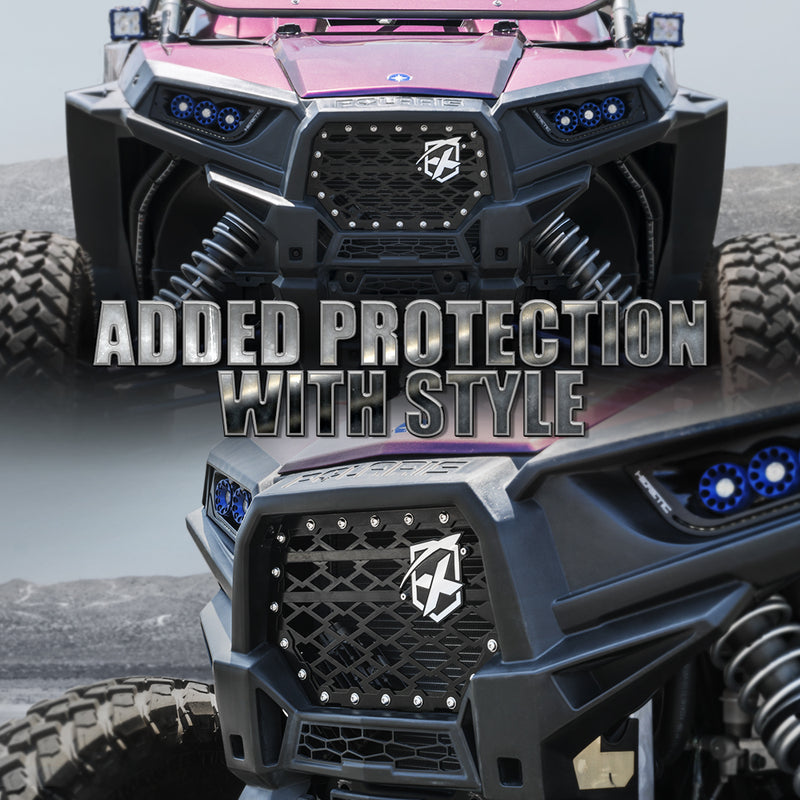 Xprite Black Steel Mesh Grille with Badge for 2014-2018 Polaris RZR 900 S & 1000 XP