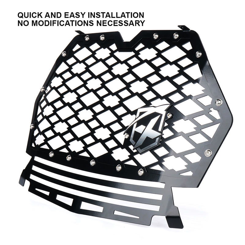 Xprite Black Steel Mesh Grille with Badge for 2019-2020 Polaris RZR 1000 XP Turbo