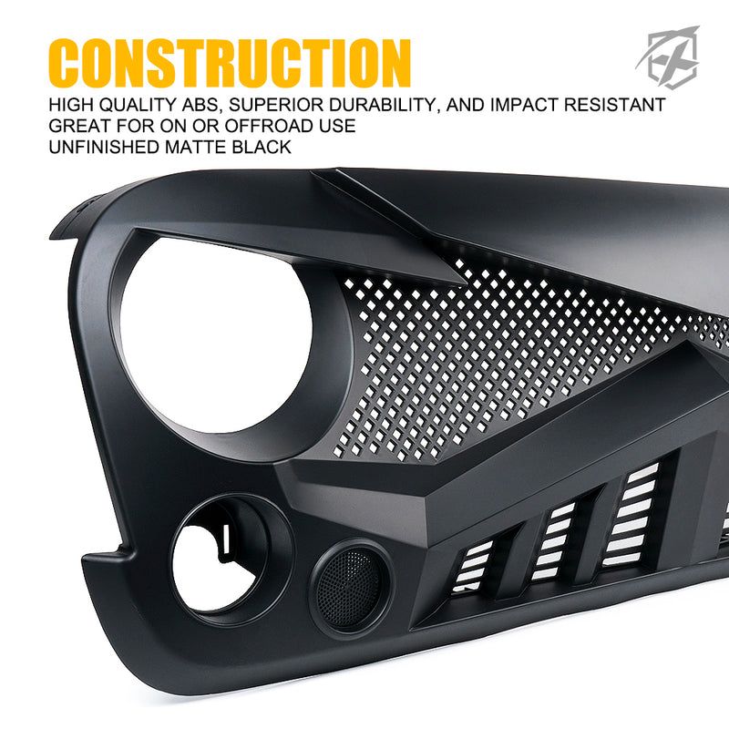 Xprite Falcon Series Front Grille for 2007-2018 Jeep Wrangler JK JKU