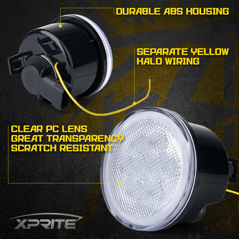 Xprite LED Amber Turn Signal Light with Clear Lens and Halo DRL for 07-18 Jeep Wrangler JK