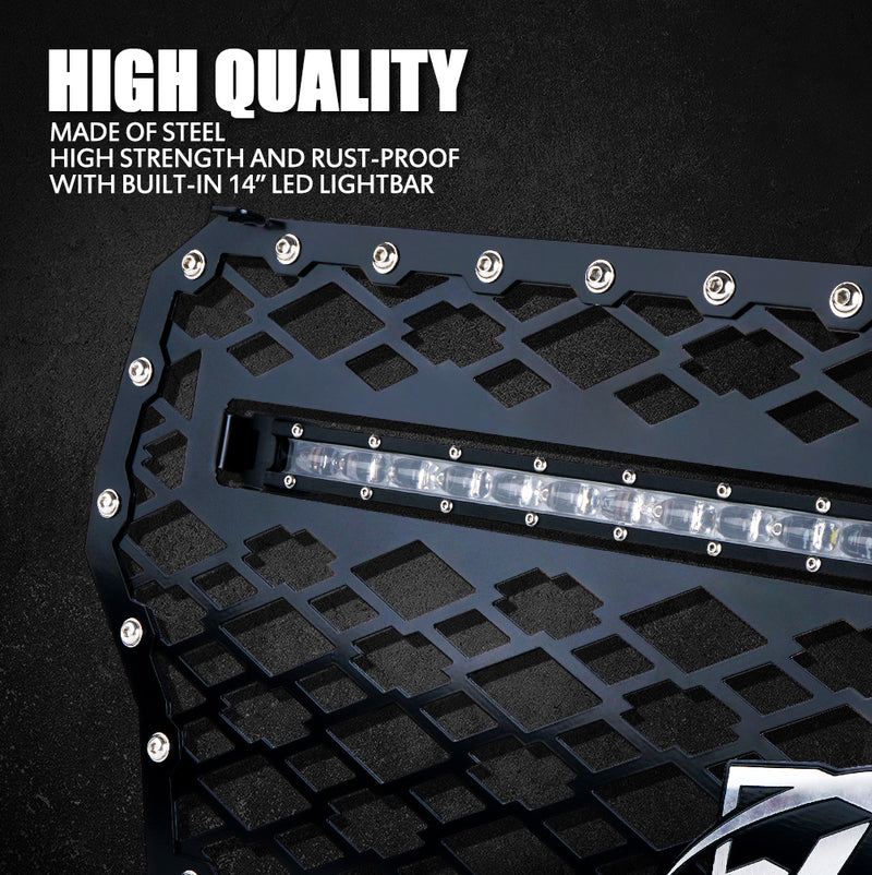 Xprite Black Steel Mesh Grille with 60W LED Lightbar for 2017-2018 Polaris RZR 1000 XP Turbo