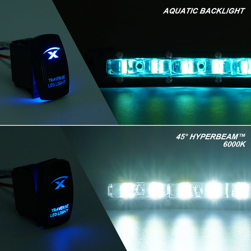 "Xprite Aquatic Series 44"" Single Row 210W LED Light Bar with Blue Backlight"