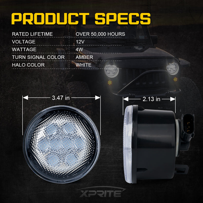 Xprite G2 LED Amber Turn Signal Light with Clear Lens for 07-18 Jeep Wrangler