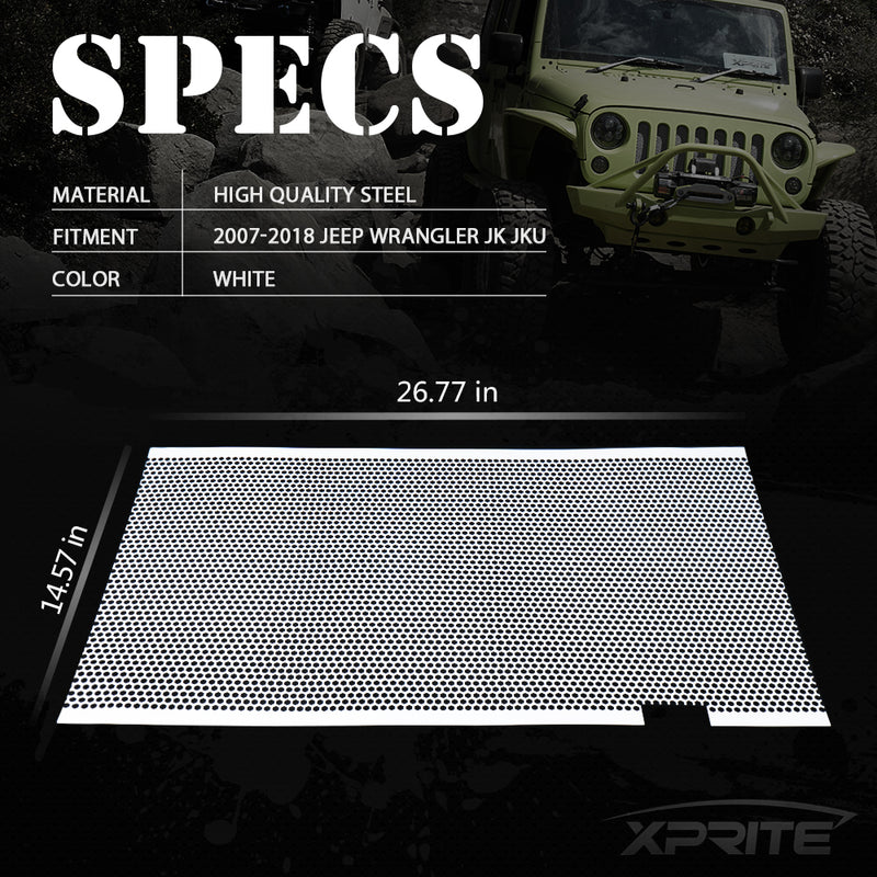 Xprite White Stainless Steel Mesh Insert For Jeep Wrangler JK JKU 2007-2018 Original Grille