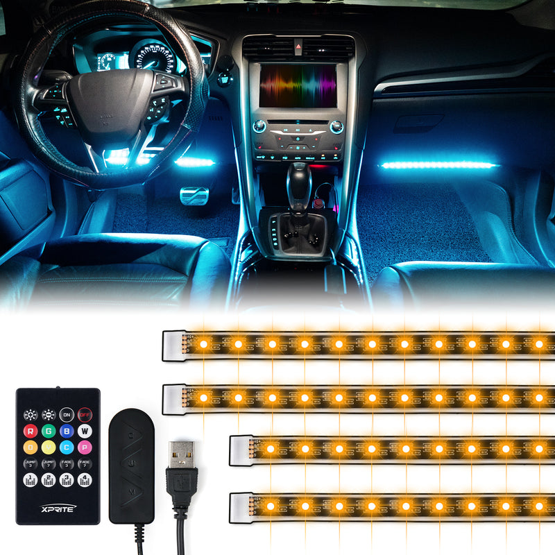 Xprite 4PC Celestial Series Interior RGB LED Car Light Set with Remote Control - Powered by USB