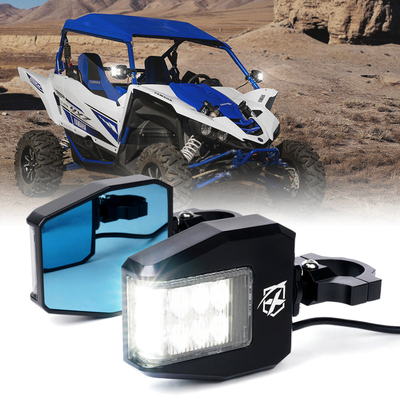 Xprite UTV Roll Bar Cage Side Mirrors LED Spot Lights and Anti-Glare Mirrors