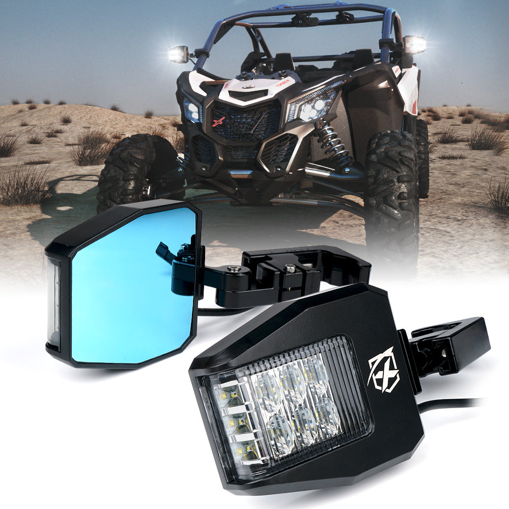 Xprite 15 inch UTV Rear View Center Mirror with Aluminum Alloy Mounting Wide Angle Tempered Glass Mirrors fits 1.75 Inch Rollbars for Offroad 2020 Polaris RZR 800 1000 S 900 XP 1000 Yamaha