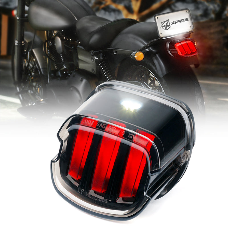 Xprite Triple Crusader Series Rear LED Taillight Assembly with Smoke Lens for Harley Davidson Motorcycles