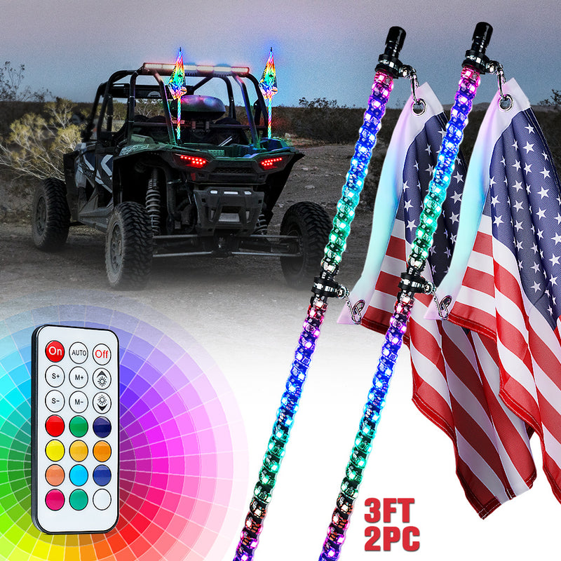 Xprite G3 Spiral RGB LED Flag Pole Whip Light with Remote Control