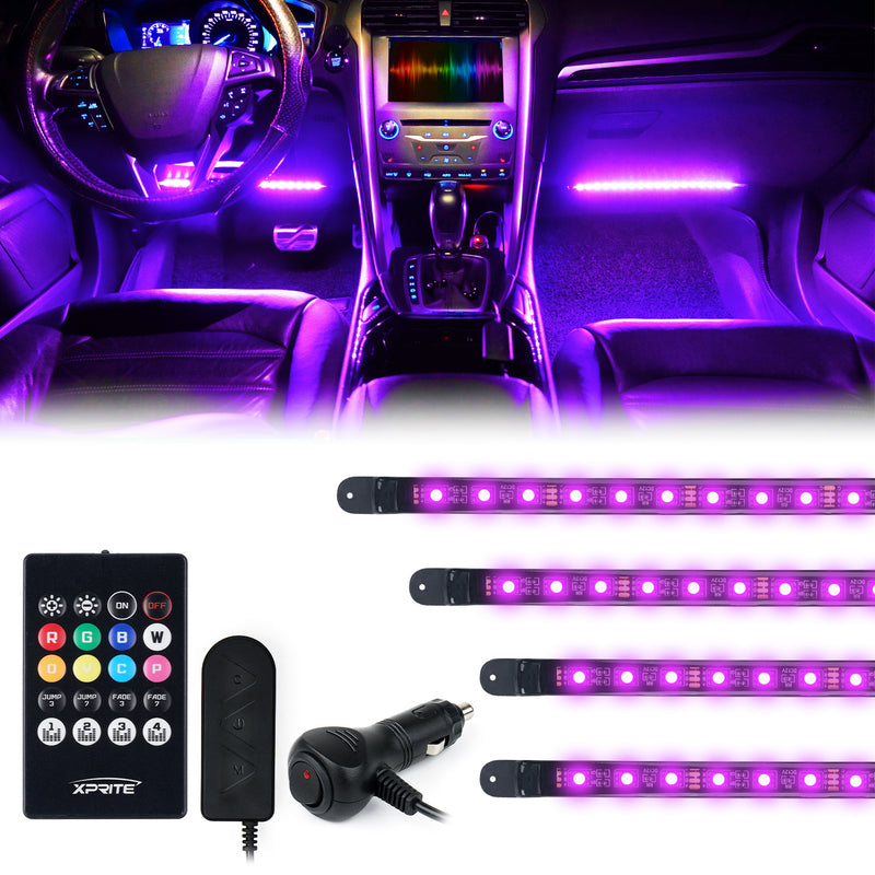 Xprite 4PC Celestial Series Remote Control Interior RGB LED Car Light Set
