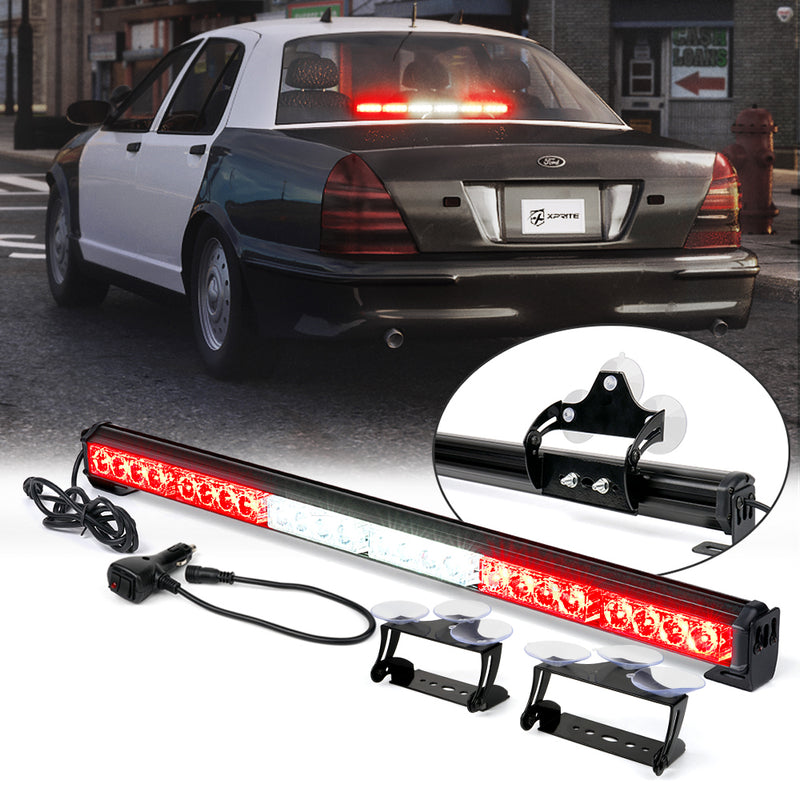 "Xprite 27"" G2 LED Traffic Advisor Strobe Lightbar with Suction Cup Brackets"