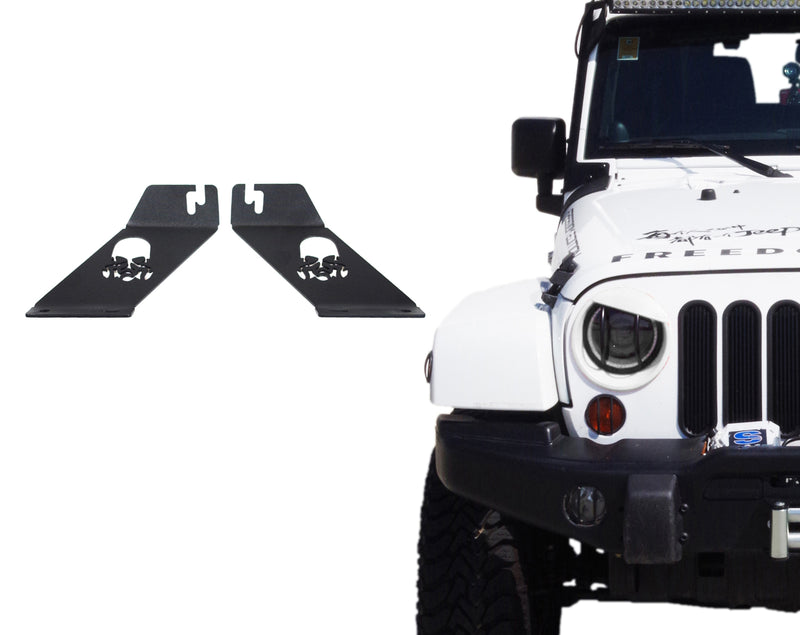 "Xprite Skull Hood Mounting Brackets For 20"" - 22"" LED Light Bar for 2007-2017 Jeep Wrangler JK"