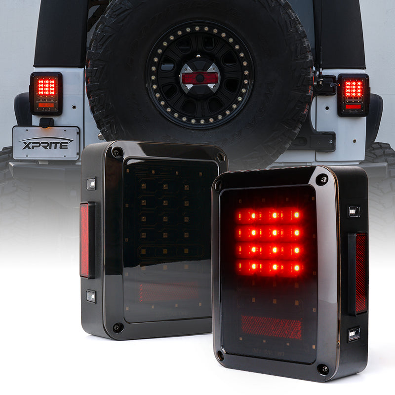 Xprite Bold Series LED Tail Light Assembly For Jeep Wrangler JK JKU 2007 - 2018