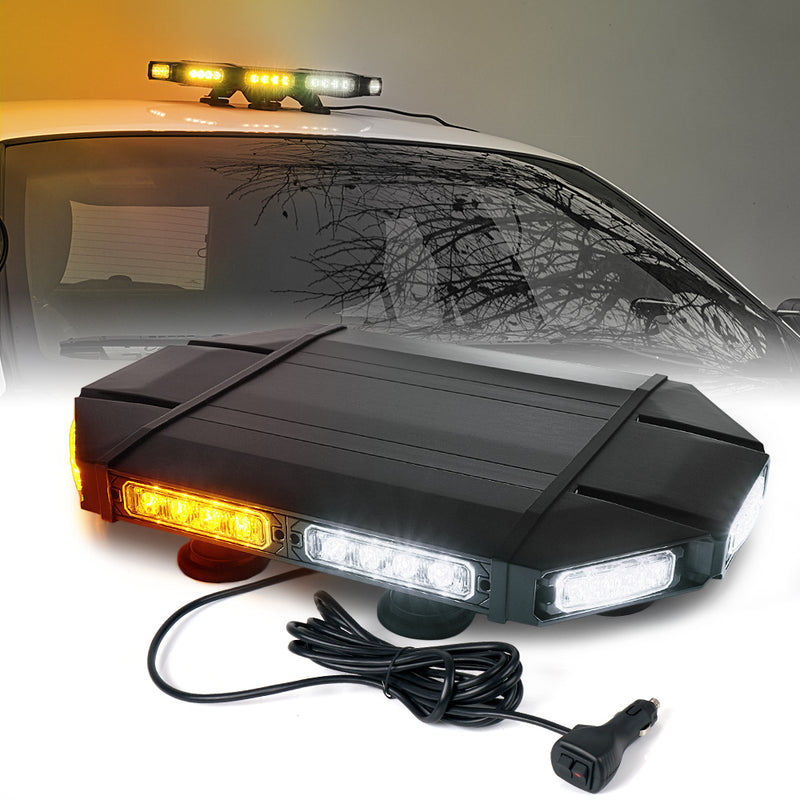 "Xprite Mini Black Hawk 18"" Professional LED Stealth Low Profile Roof Top Strobe Light Bar"