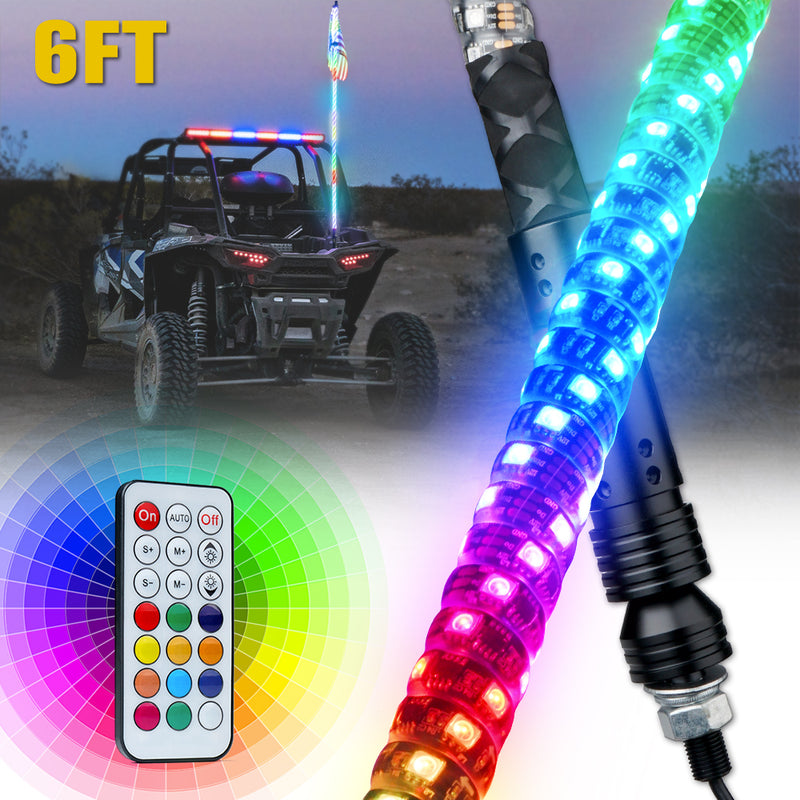 Xprite Spiral RGB LED Flag Pole Whip Light with Remote Control