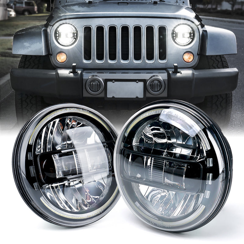 "Xprite 7"" Envision Series 60W LED Headlights With Halo DRL For 1997-2018 Jeep Wrangler TJ JK"