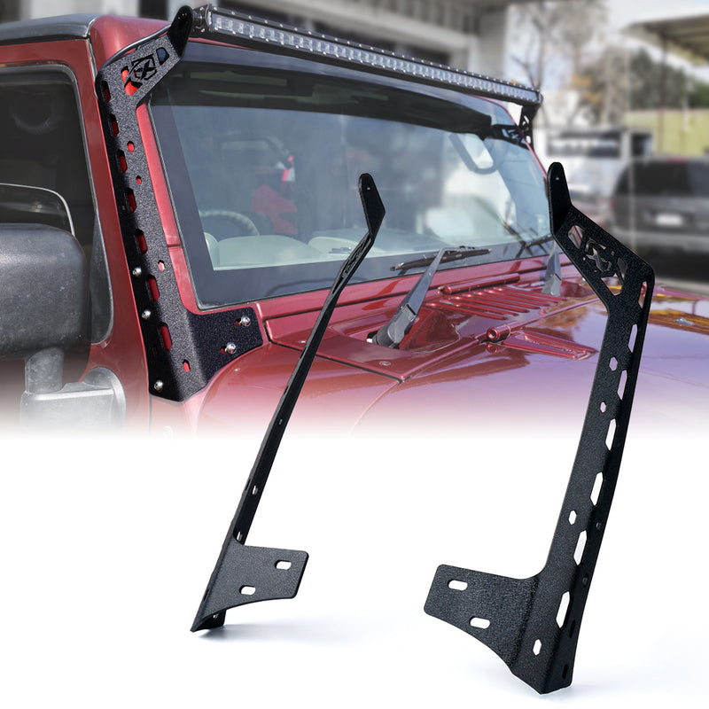 Xprite Mamba Series Front Windshield 50 Inch Light Bar Mounting Brackets For 2007 - 2018 Jeep Wrangler JK JKU