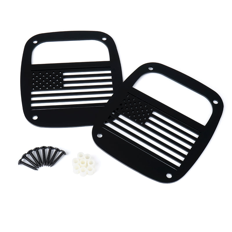 Xprite U.S. Flag Black Rear Taillight Cover for 1985 - 2006 Jeep Wrangler YJ TJ