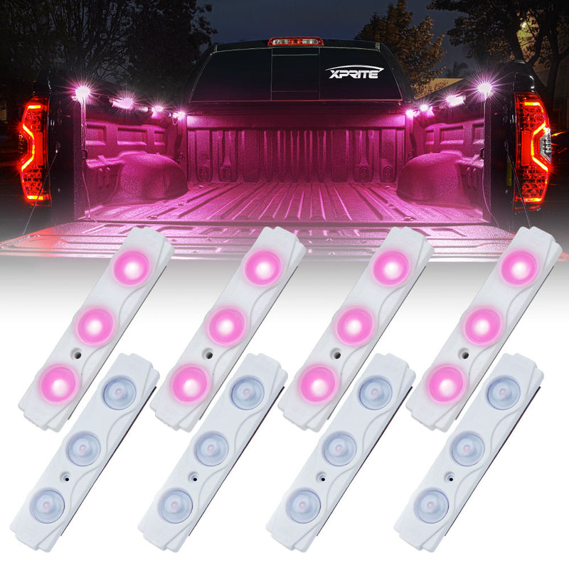 Xprite 8 LED Rock Light Pods Truck Bed Lighting Kit w/ Switch