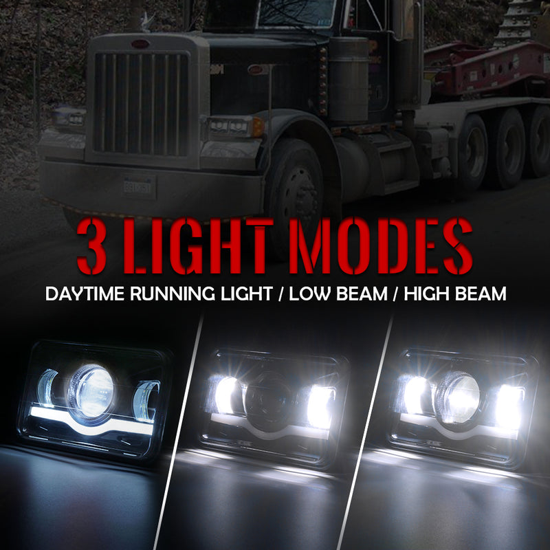 "Xprite 1 Piece Black 6100 Evolution 4x6"" CREE LED Headlight with High/Low Beam and Sunrise Type DRL"