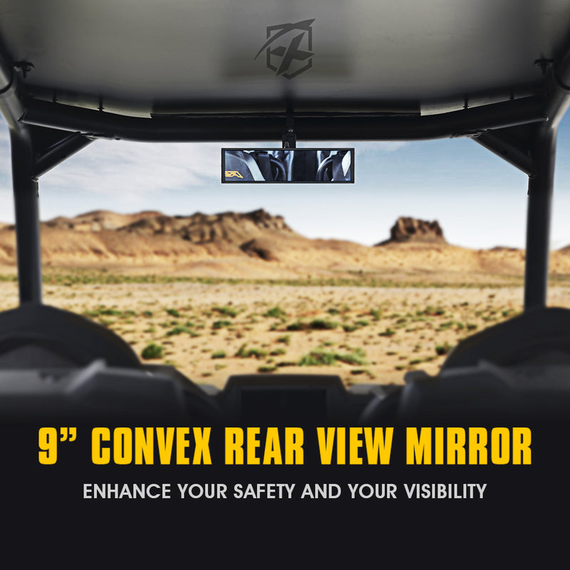 "Xprite 9"" Convex Rear View Tempered Glass Mirror for UTVs with 1.75"" Rollbars"