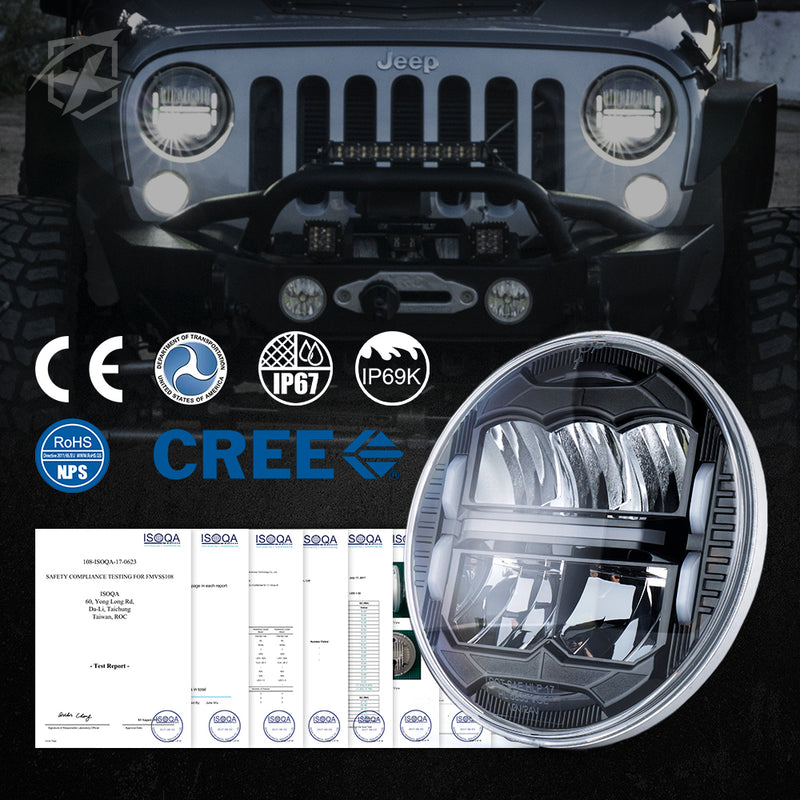 "X-Pro 7"" Division Series 60W LED Headlights With DRL For 1997-2018 Jeep Wrangler TJ JK"